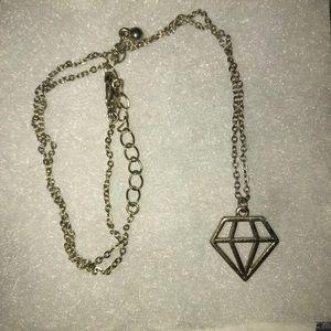 Gold geometric diamond shaped necklace